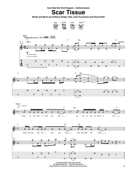 Scar Tissue by Red Hot Chili Peppers - Guitar Tab - Guitar