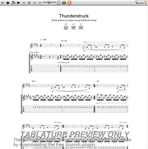 ACDC Thunderstruck Guitar Tab : Free ACDC Guitar Tabs